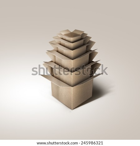 Nested Cardboard Boxes - stock photo