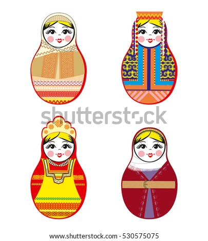 Nested dolls set. Matryoshka dolls with different traditional Russian ornaments. Isolated Rasterized Copy