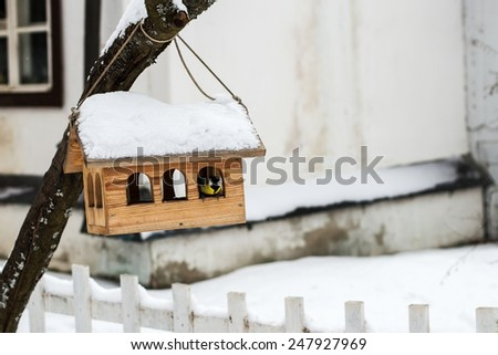 Nestling box under the snow - stock photo
