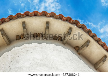 Nests of swallows under traditional Spanish roof