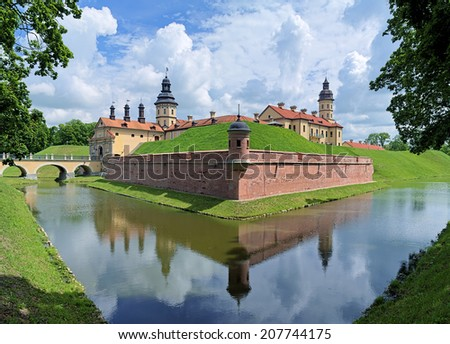 Nesvizh Castle, a residential castle of the Radziwill family in Nesvizh, Belarus - stock photo