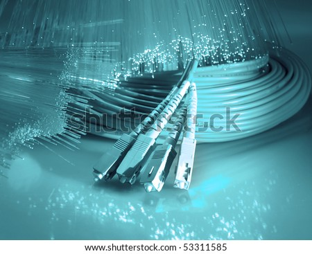 net cable connect to Internet - stock photo