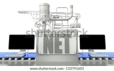 Net concept with computers and machine