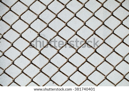 Net on the metal sheet, background, texture