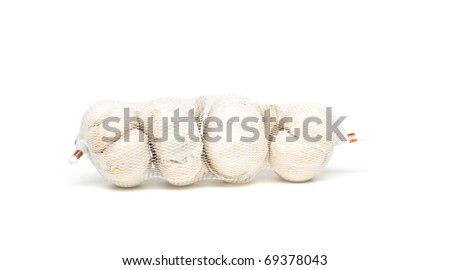 net with garlic bulbs isolated