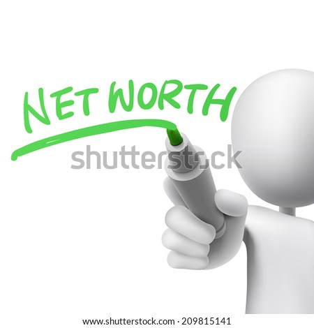 net worth written by a man over white background - stock photo