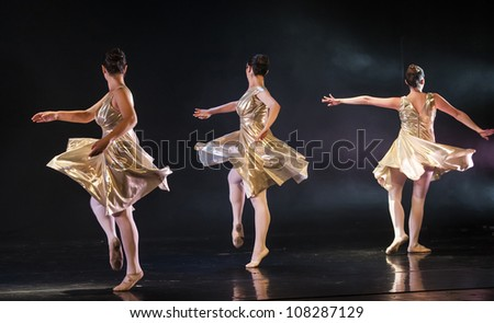 NETANIA, ISRAEL -JULY 12: Final concert of the School of Ballet on July 12, 2012 in Netania, Israel. Concert at the performing arts center of Netania - stock photo
