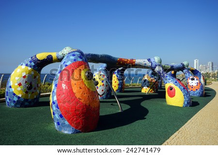 NETANYA, ISRAEL - CIRCA OCTOBER 2014 Art monument on the coast                                - stock photo