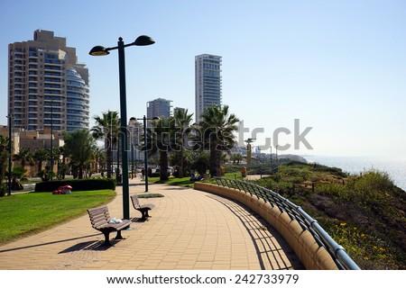 NETANYA, ISRAEL - CIRCA OCTOBER 2014 Embankment                                - stock photo