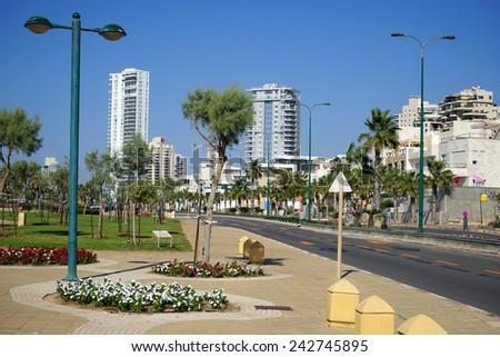 NETANYA, ISRAEL - CIRCA OCTOBER 2014 On the street                                - stock photo