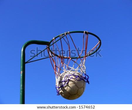 Netball and basket - stock photo