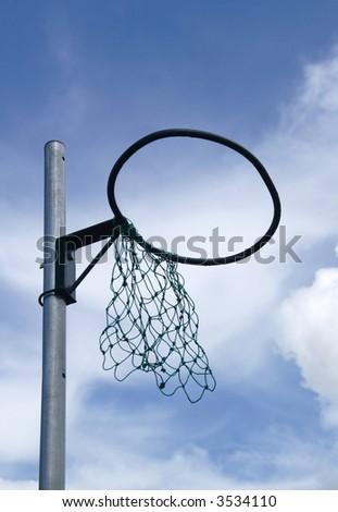 netball hoop with broken net - stock photo