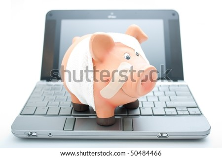 Netbook with Piggy Bank