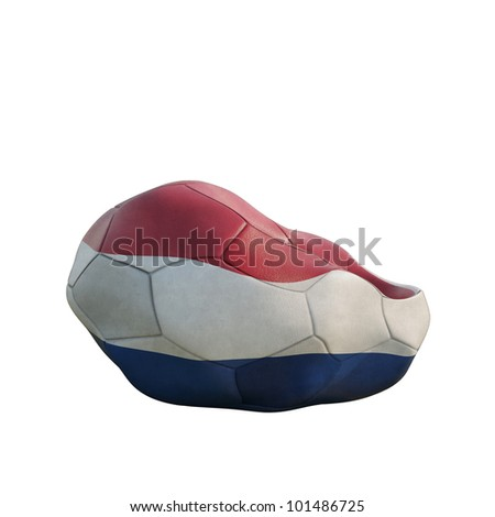 netherland deflated soccer ball isolated on white - stock photo