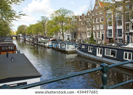 Netherlands, Amsterdam, houseboat - stock photo