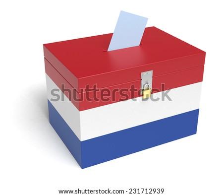 Netherlands ballot box with Nederland Flag. Isolated on white background. - stock photo