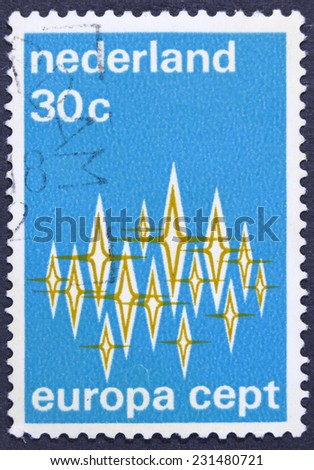 NETHERLANDS - CIRCA 1972: A stamp printed in Netherlands europa postage, circa 1972 - stock photo