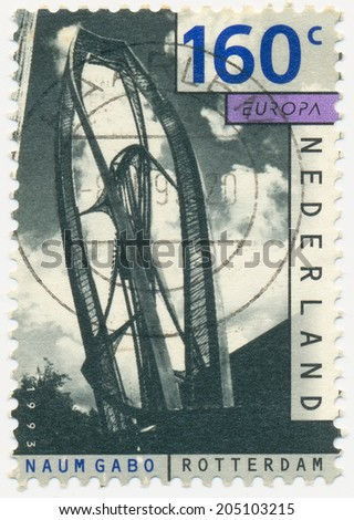 NETHERLANDS - CIRCA 1993: A stamp printed in Netherlands shows Contemporary sculpture by Naum Gabo (1890-1977), circa 1993