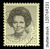 "NETHERLANDS - CIRCA 1982: A stamp printed in Netherlands shows portrait of Beatrix - Queen regnant of Kingdom of the Netherlands without the inscription, from the series ""Queen Beatrix"", circa 1982 - stock photo"