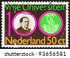 NETHERLANDS - CIRCA 1980: a stamp printed in the Netherlands shows Abraham Kuyper and Emblem of Free University, circa 1980 - stock photo