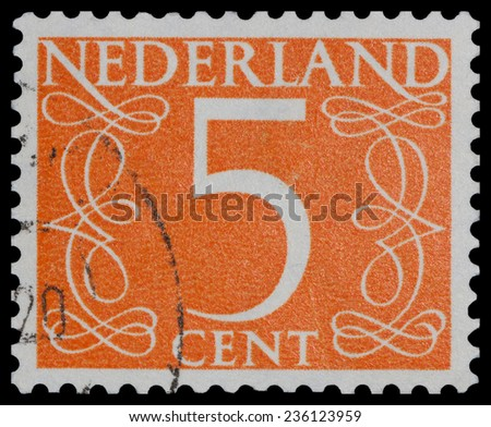 NETHERLANDS - CIRCA 1955: A stamp printed in the Netherlands shows �¢??5 cent�¢?�, circa 1955 - stock photo