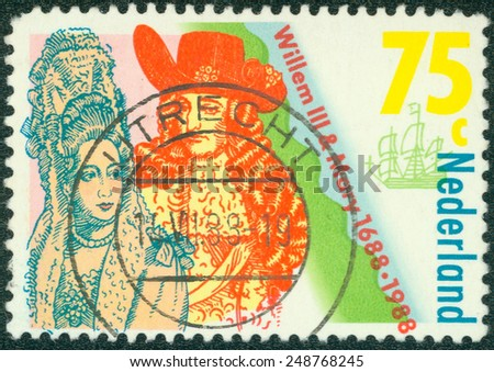 NETHERLANDS - CIRCA 1988: a stamp printed in the Netherlands shows Coronation of William III and Mary Stuart, King and Queen of England, 300th anniversary, circa 1988 - stock photo