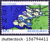 NETHERLANDS - CIRCA 1972: a stamp printed in the Netherlands shows Map of Delta, Delta Plan Project to shorten the Coastline, circa 1972  - stock