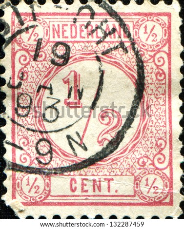 NETHERLANDS - CIRCA 1876: A stamp printed in the Netherlands, shows the value of a postage stamp, circa 1876 - stock photo