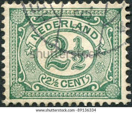NETHERLANDS - CIRCA 1899: A stamp printed in the Netherlands, shows the value of a postage stamp, circa 1899