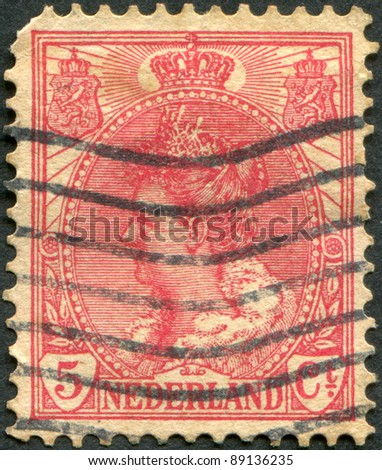 NETHERLANDS - CIRCA 1899: A stamp printed in the Netherlands, shows Wilhelmina of the Netherlands, circa 1899
