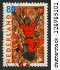NETHERLANDS - CIRCA 2000: Postage stamp printed in Netherlands dedicated to XI UEFA Football Championship (2000), circa 2000. - stock photo
