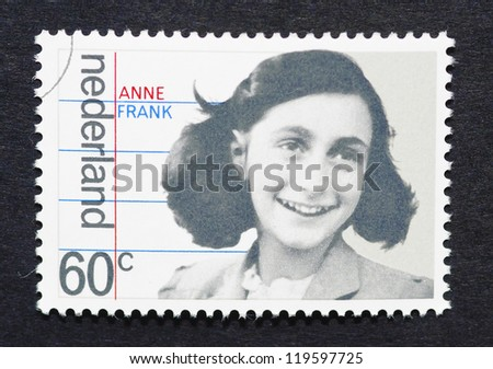 NETHERLANDS - CIRCA 1980: postage stamp printed in Netherlands showing an image of Anne Frank, circa 1980. - stock photo