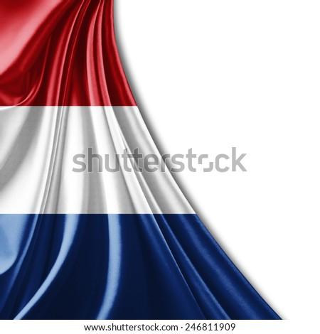 Netherlands flag and white background - stock photo