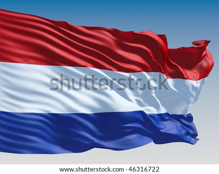 Netherlands flag flying on clear sky background. - stock photo