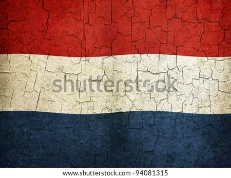 Netherlands flag on a cracked grunge background - stock photo