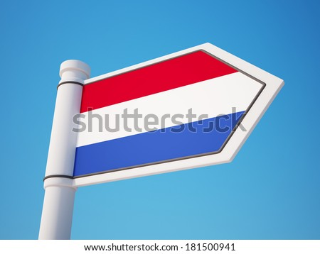 Netherlands Flag Sign isolated on sky
