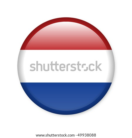 Netherlands - glossy button with flag - stock photo