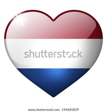 netherlands heart button - stock photo