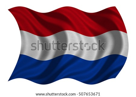 Netherlands national official flag. Patriotic symbol, banner, element, background. Correct colors. Flag of the Netherlands with real detailed fabric texture wavy isolated on white, 3D illustration