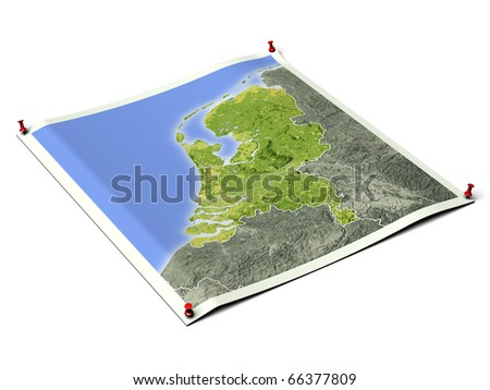Netherlands on unfolded map sheet with thumbtacks. Map colored according to vegetation, with borders. Includes clip path for the background.