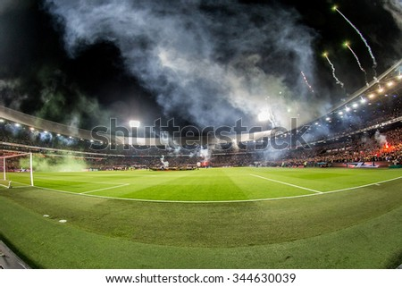 NETHERLANDS, ROTTERDAM - October 28th 2015: at the De Kuip stadium during the KNVB Beker match Feyenoord against Ajax ,  Overview Stadium de Kuip with Fireworks
