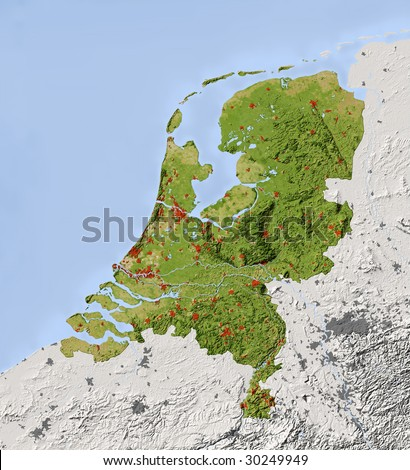 Netherlands. Shaded relief map. Surrounding territory greyed out. Colored according to vegetation. Includes clip path for the state area. - stock photo