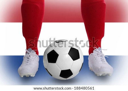 Netherlands soccer player with football for competition in Match game.