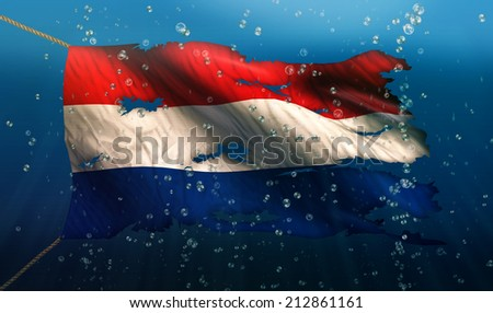Netherlands Under Water Sea Flag National Torn Bubble 3D - stock photo