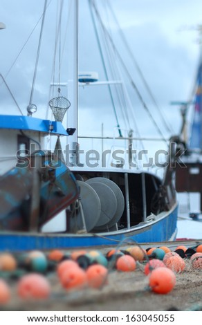 nets and ropes in the harbor of burgstaaken, fehmarn, germany  - stock photo