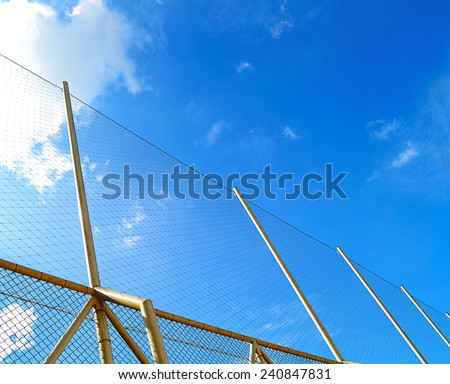 Nets of sport  in a blue sky background  - stock photo