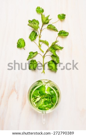 Nettle and glass tea pot on white wooden background, top view - stock photo