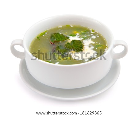 Nettle and sour cream soup. Isolated on white background. - stock photo