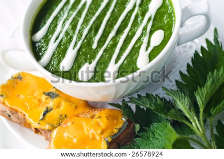 Nettle soup with melted cheese on toasted bread - stock photo