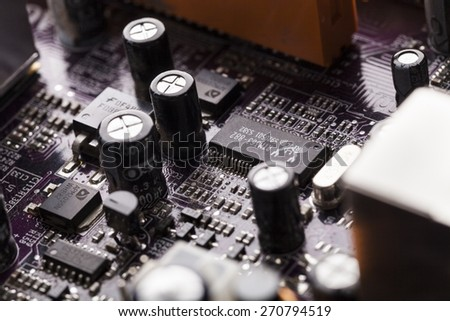 Network. Abstract close up mother board background - stock photo